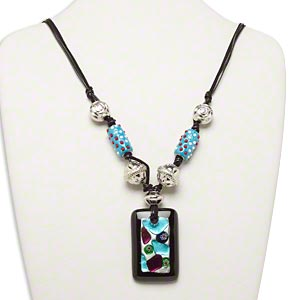 necklace, glass and plastic, multicolored, 52x33mm rectangle pendant with mixed bead accents, 26-inch waxed cotton and velveteen cord with 2-inch steel extender chain and lobster claw clasp. sold individually.