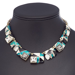 necklace, glass rhinestone / enamel / glass / gold-finished brass / steel / pewter (zinc-based alloy), multicolored, rectangle, 16 inches with 2-inch extender chain and lobster claw clasp. sold individually.