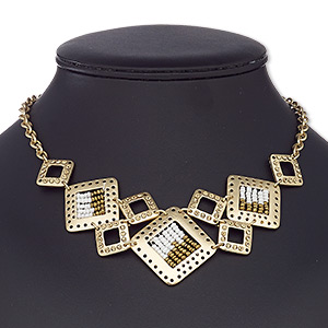 necklace, glass rhinestone / glass / gold-coated plastic / gold-finished steel / pewter (zinc-based alloy), white and gold, square, 16 inches with 2-1/2 inch extender chain and lobster claw clasp. sold individually.