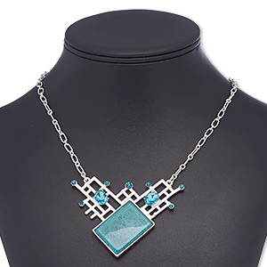 necklace, glass rhinestone / glass / resin / silver-plated steel / pewter (zinc-based alloy), blue and teal, 2-3/4 x 2-1/4 inches with diamond, 18 inches with 2-inch extender chain and lobster claw clasp. sold individually.