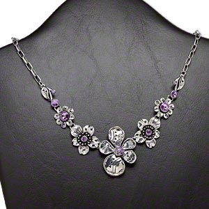 necklace, glass rhinestone and antique silver-plated steel and pewter (zinc-based alloy), purple, 18x18mm-44x33mm graduated flowers, 18-inch oval cable chain with 3-inch extender chain and lobster claw clasp. sold individually.