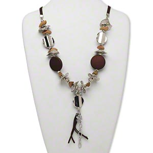 necklace, huangshan pine tree wood with silver-finished plastic, brass and steel, brown, 30mm flat round with mixed size and shape beads and charms on velveteen ribbon or cord, 2-inch dangle, 24 inches with lobster claw clasp and 1-3/4 inch extender chain. sold individually.