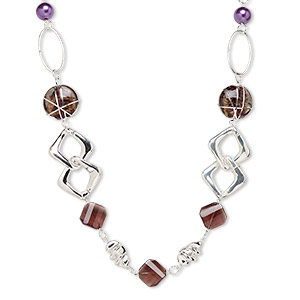 necklace, lampworked glass and silver-plated steel and plastic, purple with copper-plated glitter, 35x33mm flat round, 36-inch continuous loop. sold individually.