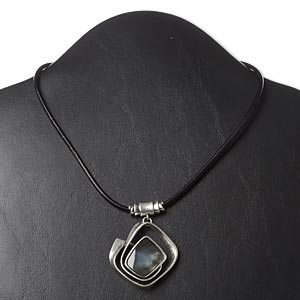 necklace, leather / black lip shell (natural / dyed) / antique silver-plated pewter (zinc-based alloy) and steel, 42x41mm twisted diamond, 16 inches with 3-inch extender chain and lobster claw clasp. sold individually.