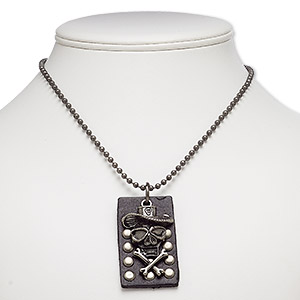 necklace, leather (dyed) / gunmetal-plated brass / steel / pewter (zinc-based alloy), black, 53x31mm rectangle and 46x27mm skull, 24 inches with ball chain closure. sold individually.