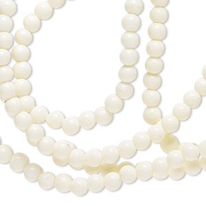 necklace, lucite, opaque matte cream, 3-4mm round, 35-inch continuous loop. sold individually.