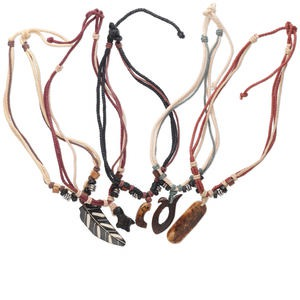 necklace mix, bone (dyed) and waxed cotton cord, 22 inches with knot closure. sold per pkg of 5.