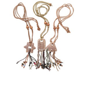 necklace mix, ceramic, brown and multiple colors, mixed pendant sizes, 28-inches. sold per pkg of 3. minimum 2 per order.