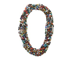 necklace mix, glass, mixed colors, 4mm - 11x5mm multi-shaped, transparent to opaque, 27-inch continuous strand. sold per pkg of 12.