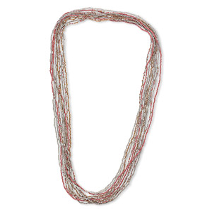 necklace mix, glass seed beads, opaque gold / rose / brown with ab finish. sold per pkg of ten 36-inch continuous loops.