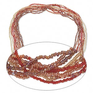 necklace mix, glass seed beads, opaque red and gold tones with ab finish. sold per pkg of ten 36-inch continuous loops.