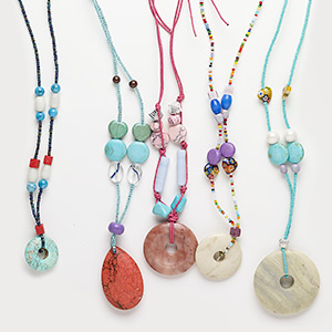 necklace mix, multi-gemstone (natural / dyed / heated / imitation) / acrylic / glass / waxed cotton cord, multicolored, 3x2mm-49x48mm mixed shape, 16- to 24-inch adjustable and continuous loop. sold per pkg of 5.