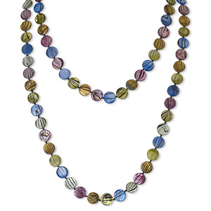 necklace, mother-of-pearl shell (dyed / coated), multicolored, 12mm flat round, 45-inch knotted continuous loop. sold individually.