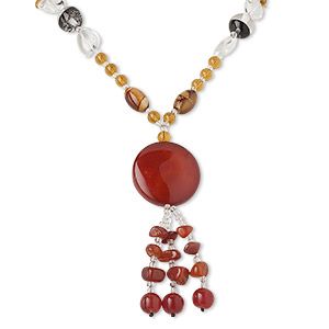 necklace, red agate (dyed / heated) and glass, multicolored, 40mm round, 28 inch continuous loop. sold individually.