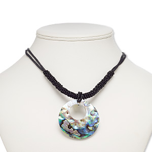 necklace, resin / abalone shell / freshwater pearl shell (assembled) / waxed cotton cord / glass / imitation rhodium-finished brass / steel, black, 50mm round go-go, 18 inches with 3-inch extender chain and lobster claw clasp. sold individually.