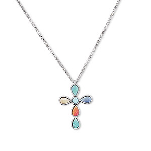necklace, resin with silver-plated steel and pewter (zinc-based alloy), multicolored, 48x30mm cross, 20 inches with 2-inch extender chain and lobster claw clasp. sold individually.