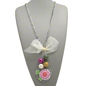 necklace, silver-finished steel / aluminum / acrylic / satin, multicolored, 5x1-1 / 2 inch bow, 20mm round and 65x57mm heart with flower design, 24 inches with toggle clasp. sold individually.