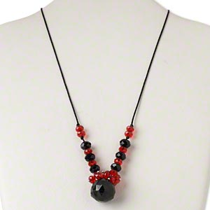 necklace, silver-finished steel / nylon / glass, black and red, 22x21mm faceted teardrop, 20 inches with 2-inch extender chain and lobster claw clasp. sold individually.