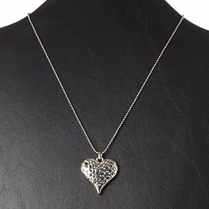 necklace, silver-plated brass / steel / pewter (zinc-based alloy), 31x29mm puffed heart, 16 inches with 2-inch extender chain and lobster claw clasp. sold individually.