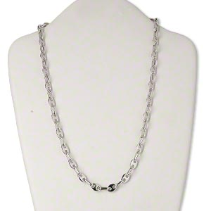 necklace, silver-plated brass, oval links, 24 inches with lobster claw clasp. sold individually.