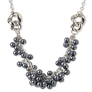 necklace, silver-plated steel / acrylic pearl / plastic / silver-coated plastic, gunmetal-colored, 8mm round, 21 inches with 2-inch extender chain and lobster claw clasp. sold individually.