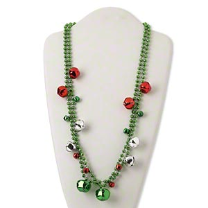 necklace, steel and plastic, red / silver / green, 9x8mm-22x20mm bell, 30-inch continuous loop. sold per pkg of 2.