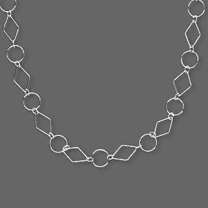 necklace, sterling silver, 21x14mm diamond and 14mm round linked with 6x4 oval, 24-inch continuous loop. sold individually.