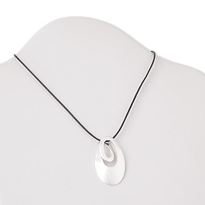necklace, sterling silver and cotton cord, 43x25mm matte oval, 17 inches with springring clasp. sold individually.