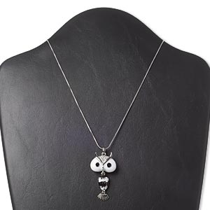 necklace, swarovski crystals / enamel / imitation rhodium-finished pewter (zinc-based alloy), black / white / crystal clear, 48x25mm owl, 16 inches with 3-inch extender chain and lobster claw clasp. sold individually.