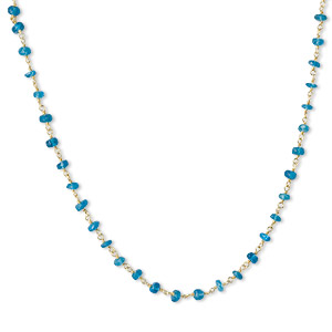 necklace, teal apatite (natural) and gold-finished sterling silver, 3.5-4mm hand-cut faceted rondelle, 18 inches with s-hook clasp. sold individually.