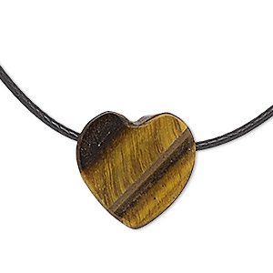necklace, tigereye (natural) / waxed cotton cord / silver-finished steel / brass, black, 13x13mm heart, 18 inches with lobster claw clasp. sold individually.