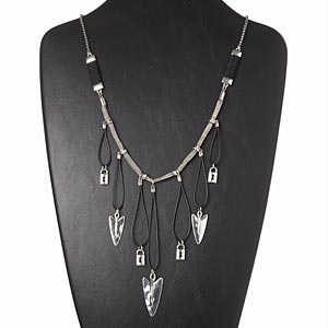 necklace, waxed cotton cord / rayon / steel / antiqued silver-finished brass and pewter (zinc-based alloy), black, 4-1/2 inch dangle with arrows and locks, 26 inches with 3-inch extender chain and lobster claw clasp. sold individually.