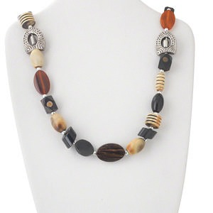 necklace, wood and horn (natural / dyed), red / tan / silver, 22x15mm mixed shapes with silver-colored brass spacer beads, silver-colored brass hook-and-eye clasp, 32 inches. sold individually.