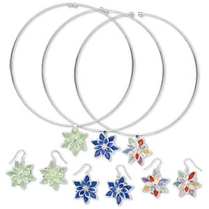neckwire and earring set, steel and acrylic, assorted color, flower design, 16-inch neckwire, earrings with fishhook wire. sold per pkg of 3 sets.