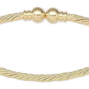 neckwire, gold-plated brass, 3.5mm twisted wire, 7.5mm ball ends, 16 inches. sold individually.