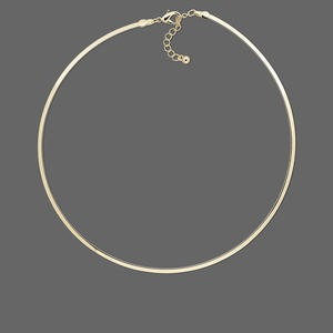neckwire, gold-plated brass, 3mm flat, 16 inches. sold individually.