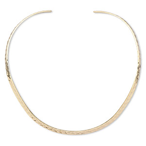neckwire, gold-plated brass, 5mm flat hammered, 16 inches. sold individually.