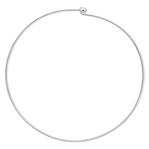 neckwire, silver-plated brass, 1mm rigid round, 16 inches with 6mm twist-off bead end. sold individually.