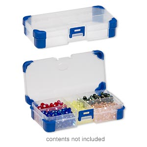 organizer, acrylic and rubber, clear and blue, 5-1/2 x 2-3/4 x 1-1/4 inch rectangle, 5 compartments. sold individually.