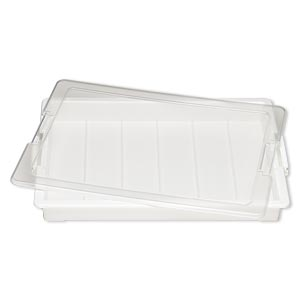 organizer, bead storage solutions™ bead storage tray™, plastic, clear and off-white, 13-3/4 x 10-1/2 x 2 inches. sold per 2-piece set.