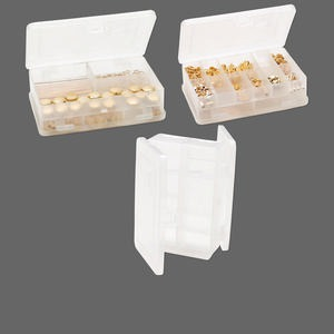 organizer, plano, plastic, clear, 4-1/2 x 3 x 1-1/4 inch double-sided rectangular box, 14 compartments. sold individually.