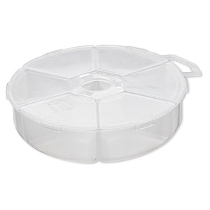 organizer, plano, plastic, clear, 4-1/4 x 1-1/4 inch round box with 6 compartments. sold individually.