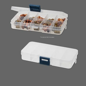 organizer, plastic, 5-1/4x2-3/4x1 inch rectangle with 10 adjustable compartments. sold per pkg of 5.