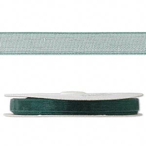 organza ribbon, nylon, green, 1/4 inch. sold per 33-yard spool.