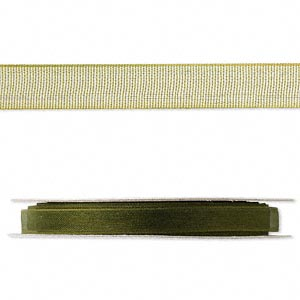 organza ribbon, nylon, olive, 1/4 inch. sold per 33-yard spool.