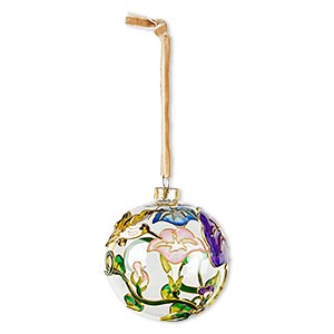 ornament, glass / enamel / velveteen ribbon / gold-finished copper / brass / steel, clear and multicolored, 3-inch round with hummingbird / flower / leaf design. sold individually.