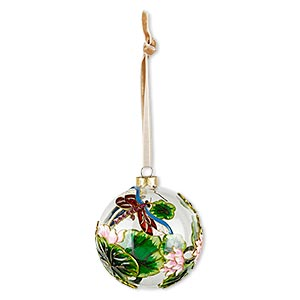ornament, glass / enamel / velveteen ribbon / gold-finished copper / brass / steel, clear and multicolored with glitter, 3-inch round with dragonfly / flower / leaf design. sold individually.