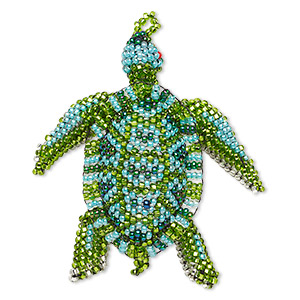 ornament, glass, blue / green / teal, 3 x 2-1/4 inch seed-beaded sea turtle. sold individually.
