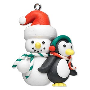 ornament, polymer clay and imitation rhodium-finished steel, multicolored, 44x38mm snowman and penguin. sold individually.