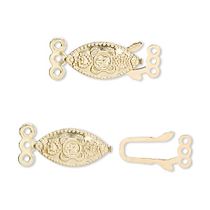 Fishhook Clasps Gold Plated/Finished Gold Colored